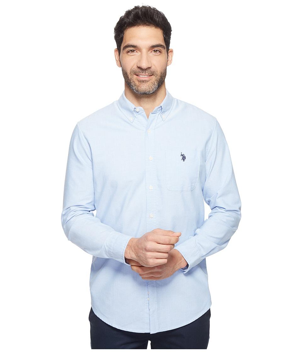 U.S. POLO ASSN. - Solid Long Sleeve Classic Fit Single Pocket Sport Shirt (Light Blue) Men's T Shirt