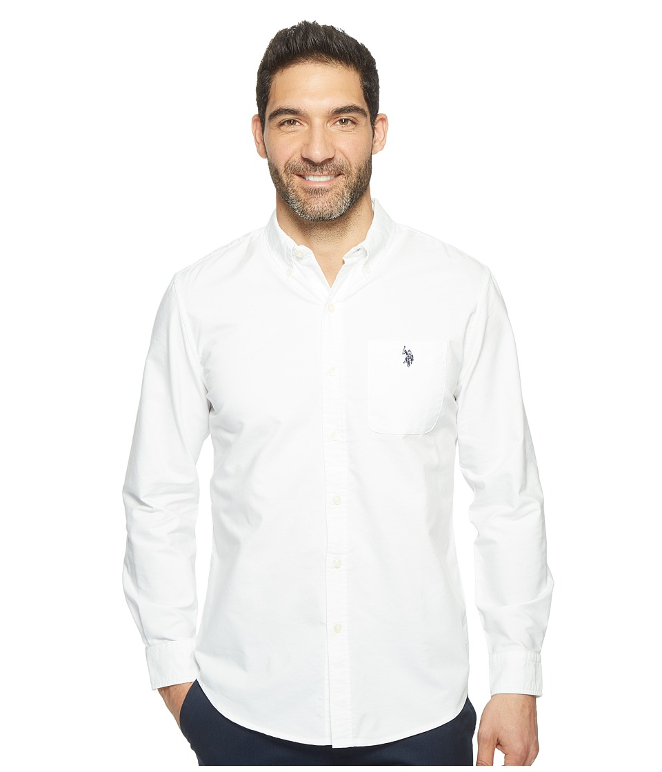 U.S. POLO ASSN. - Solid Long Sleeve Classic Fit Single Pocket Sport Shirt (Optic White) Men's T Shirt