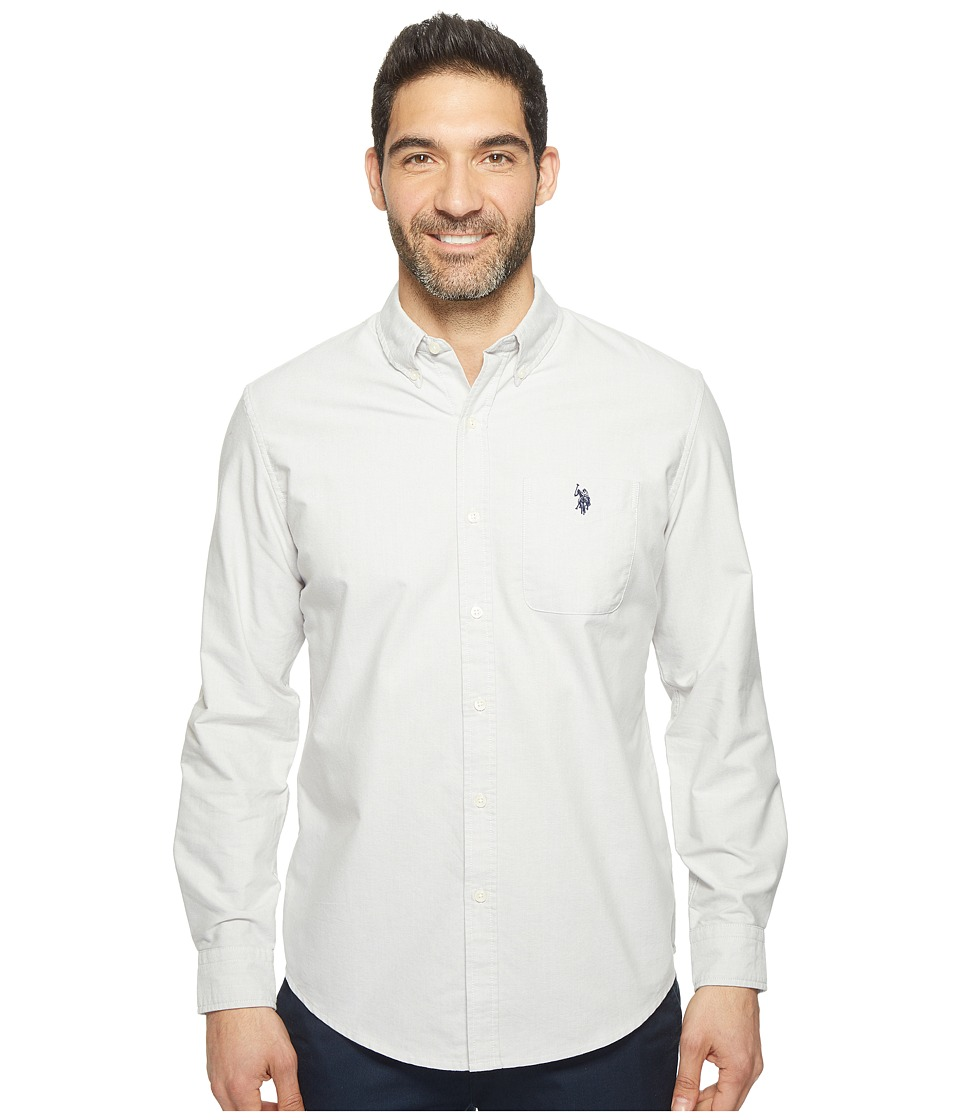 U.S. POLO ASSN. - Solid Long Sleeve Classic Fit Single Pocket Sport Shirt (Light Heather Gray) Men's T Shirt