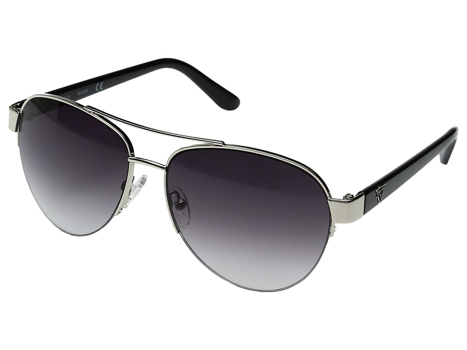 GUESS - GU0254F (Silver/Gradient Smoke Lens) Fashion Sunglasses