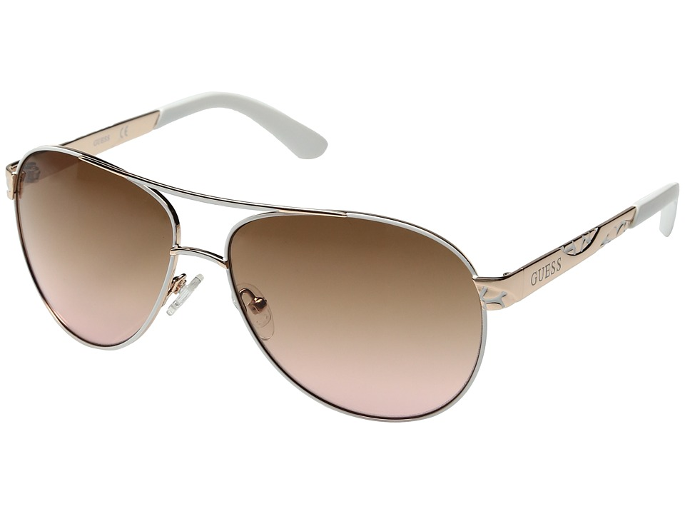 GUESS - GF0282 (Shiny Rose Gold/Gradient Brown) Fashion Sunglasses