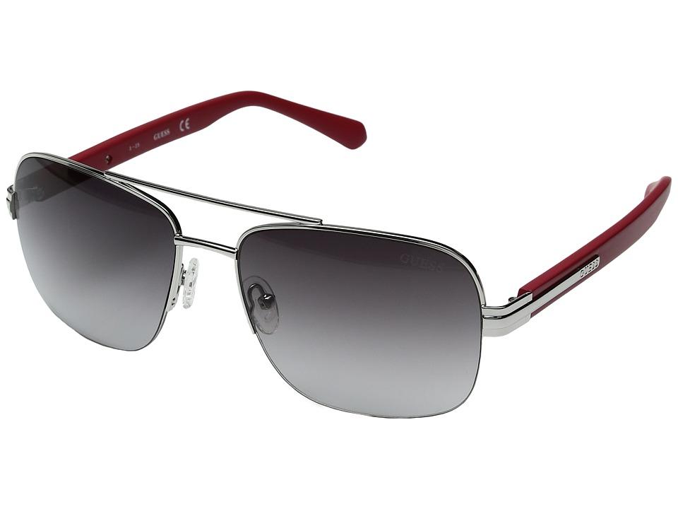 GUESS - GF0144 (Shiny Dark Nickeltin/Gradient Smoke) Fashion Sunglasses