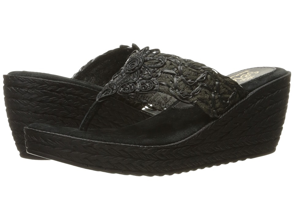 Sbicca - Porto (Black) Women's Wedge Shoes
