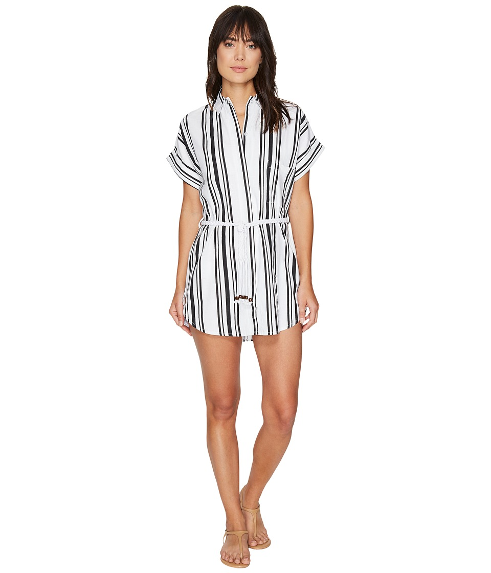 Plush - Soleil Striped Linen Beach Dress (Black/White) Women's Dress