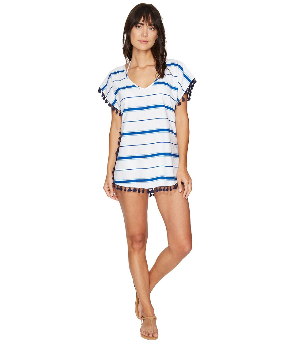Plush - Soleil Striped Cover-Up w/ Fringe (Cobalt/White) Women's Swimwear