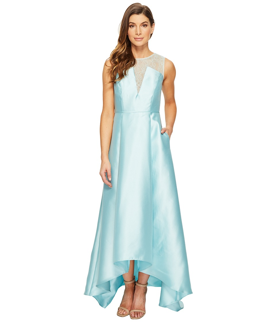 Adrianna Papell Lace Bodice Yoke and Mikado Combo Ball Gown (Aqua Glass) Women
