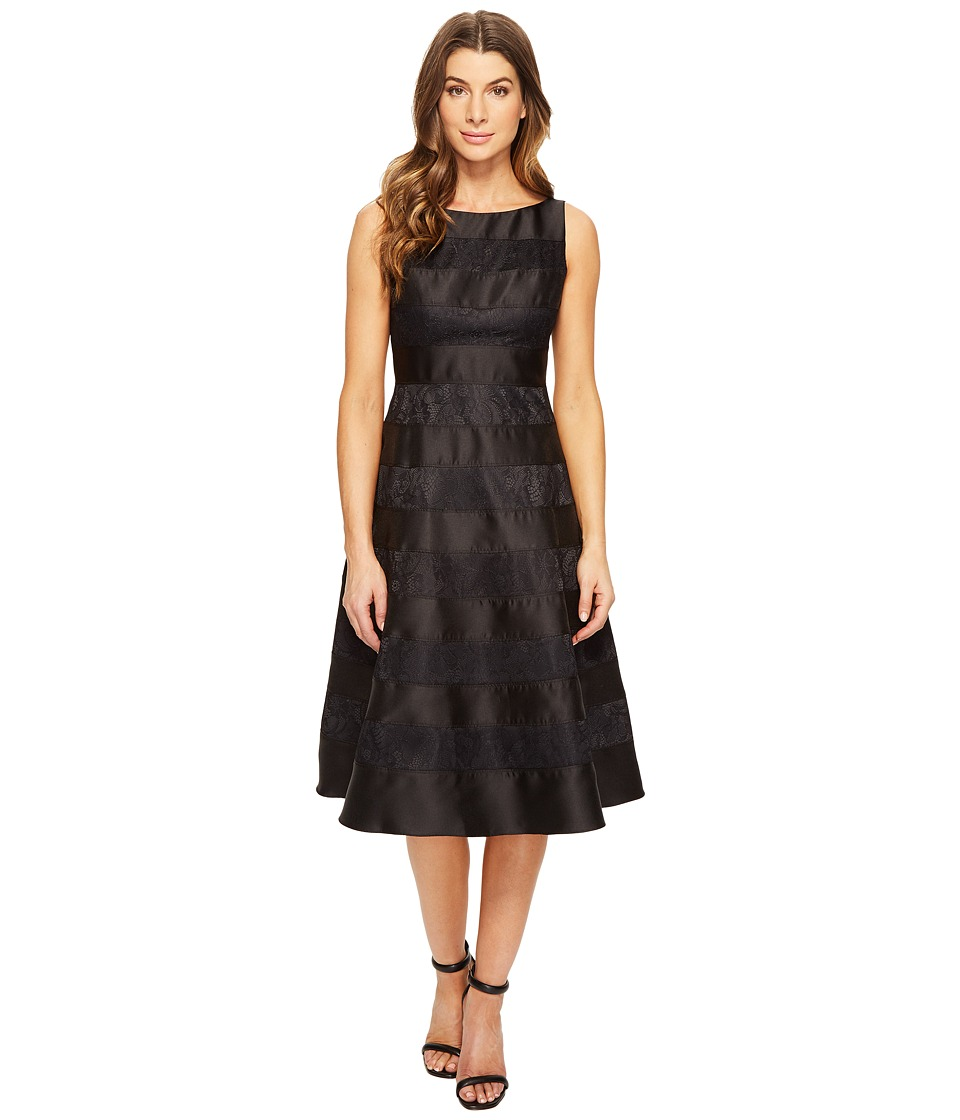 Adrianna Papell - Striped Lace Mikado Combo Fit and Flare Dress (Black Nude) Women's Dress