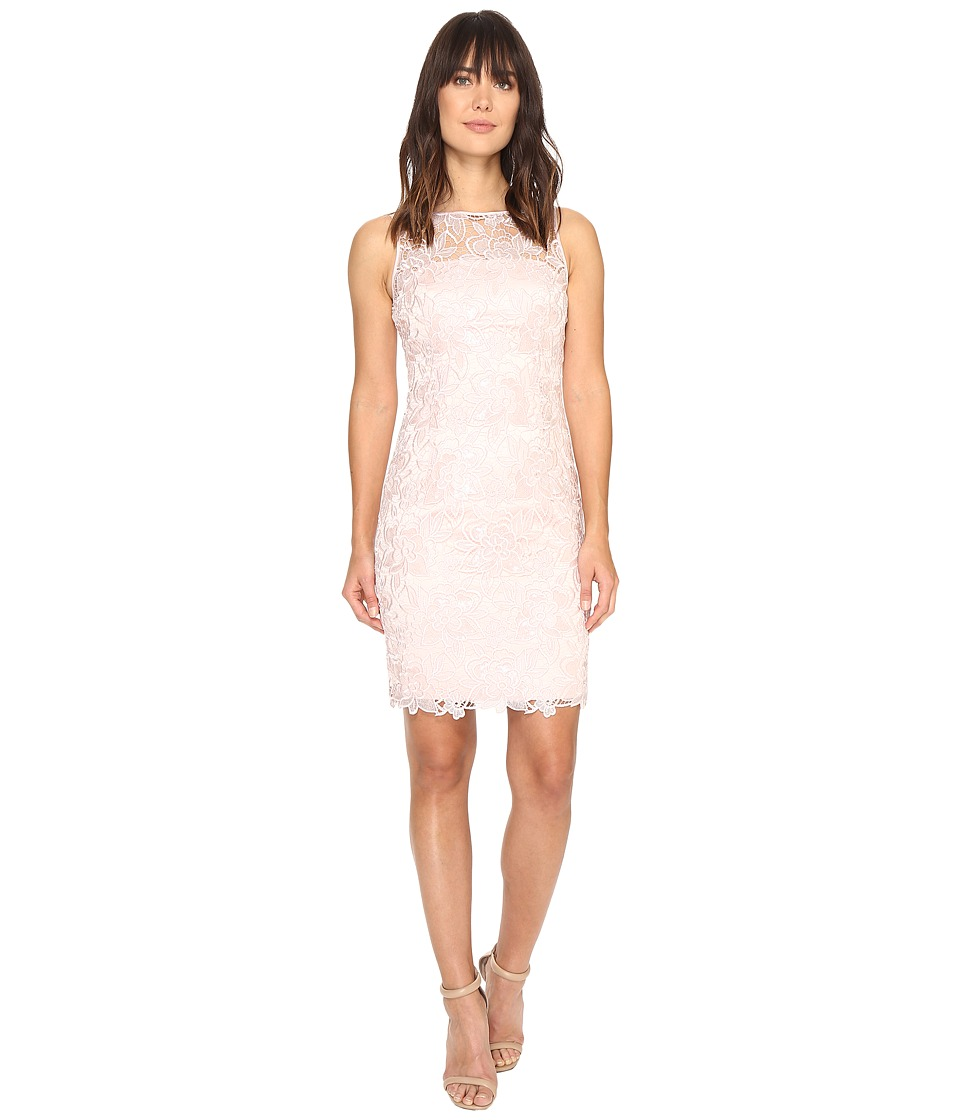 Adrianna Papell - Sleeveless Sequin Guipure Lace Sheath Dress (Blush) Women's Dress