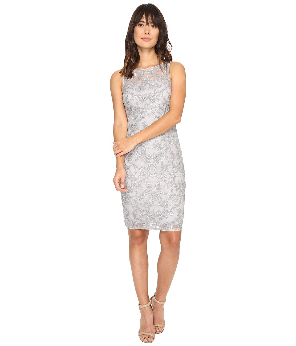 Adrianna Papell - Falling Vines Sequin Embroidery in Basic Sleeveless Sheath Dress (Silver) Women's Dress