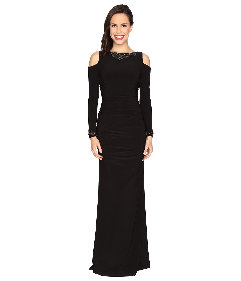 Adrianna Papell - Long Sleeve Cold Shoulder Rouched Modified Mermaid Gown (Black) Women's Dress