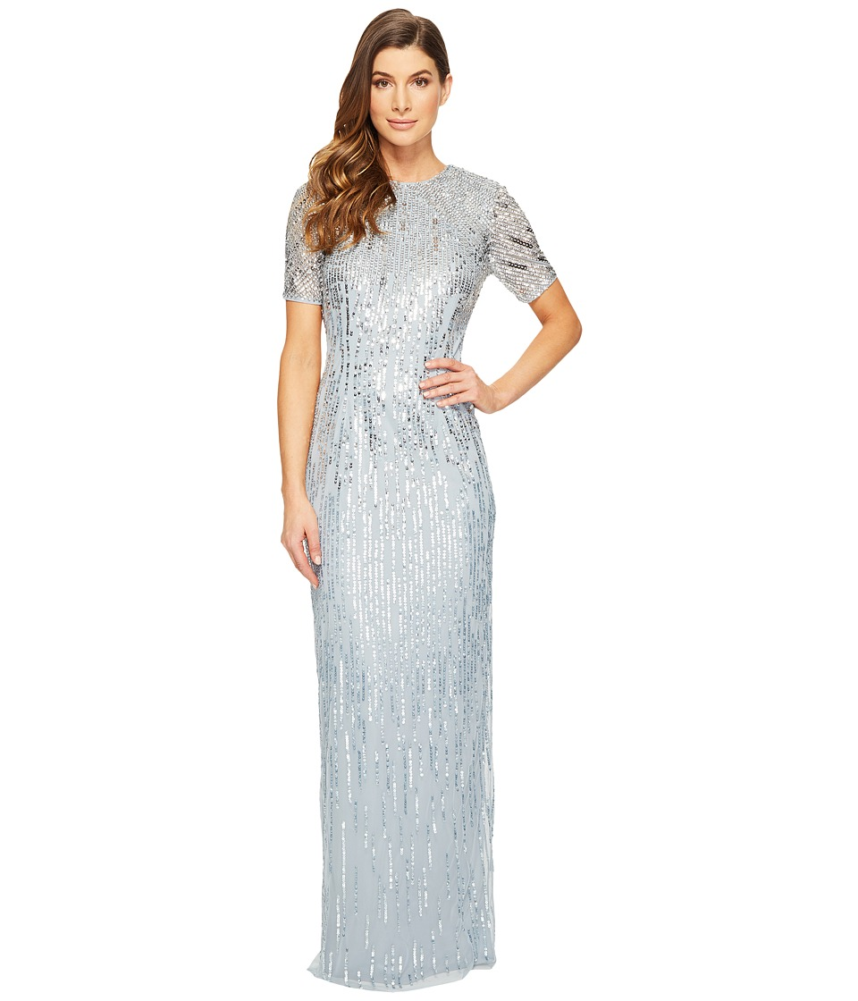 Adrianna Papell - Ombre Sequin Column Gown with Elbow Length Sleeves (Blue Heather) Women's Dress