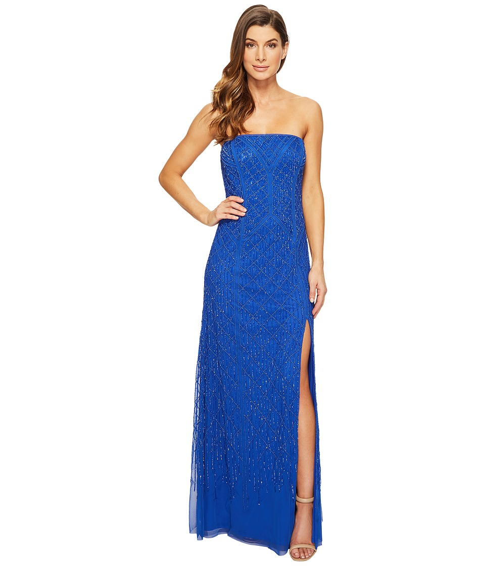 Adrianna Papell Strapless Beaded Gown with Modified Mermaid Skirt and High Slit Royal Dress
