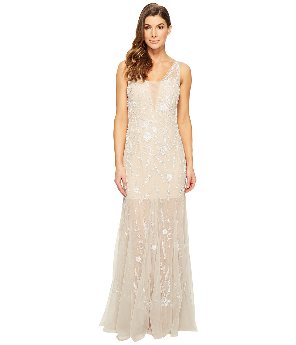 Adrianna Papell - Sleeveless Plunging V-Neckline Fully Beaded Mesh Illusion Gown with Godets (Silver/Nude) Women's Dress