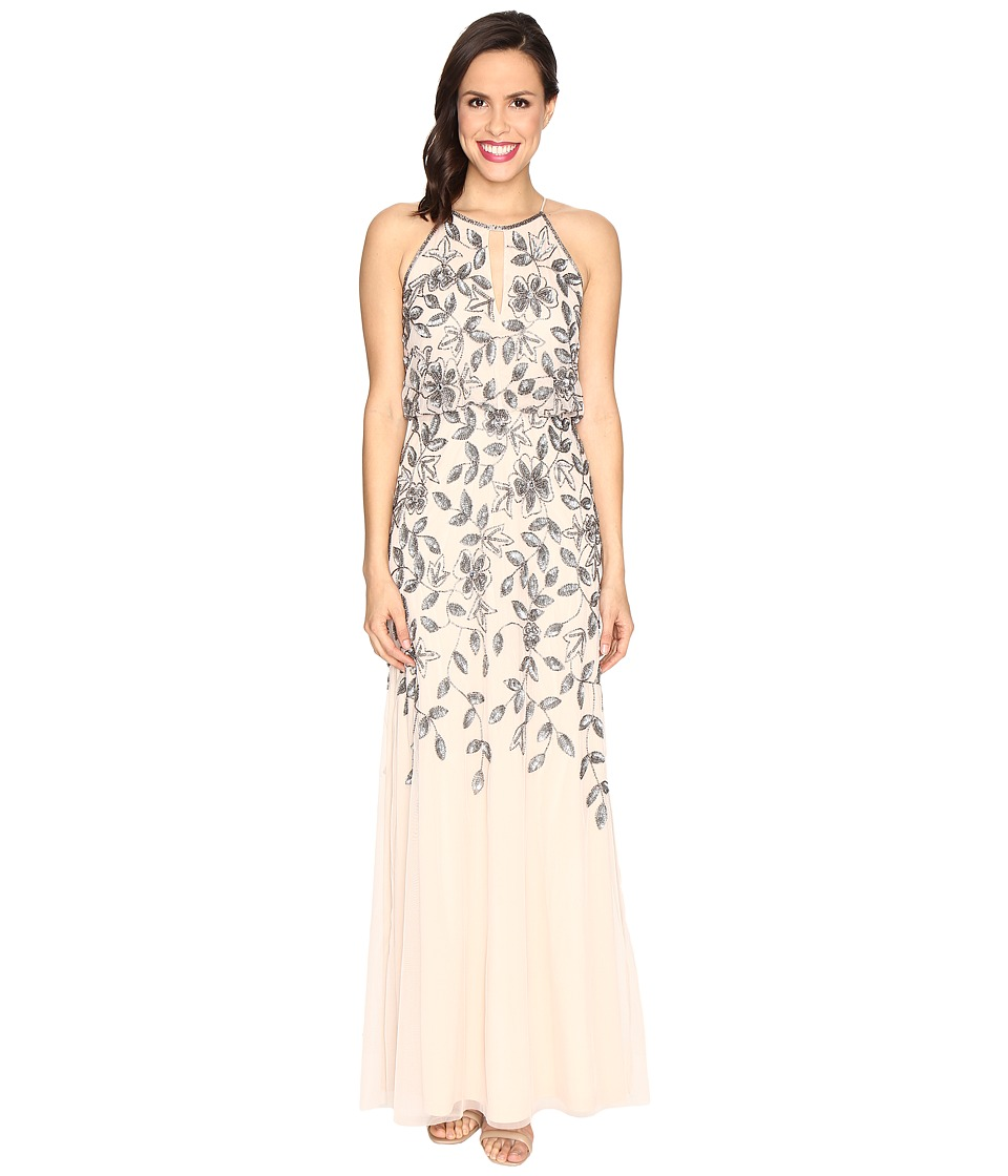 Adrianna Papell Beaded Gown with Plunging Neckline Taupe-Pink Dress