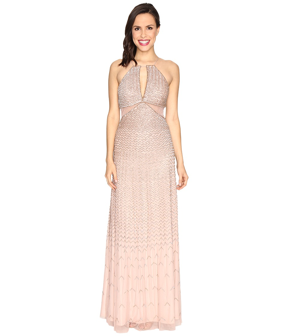 Adrianna Papell Strappy Halter Fully Beaded Gown with Side Mesh Cut Outs and CF Keyhole Rose Gold Dress