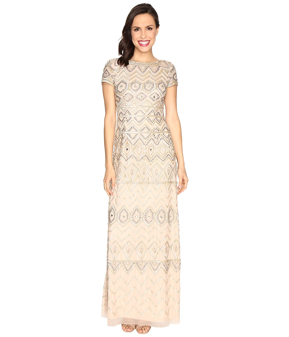 Adrianna Papell New Tribal Long T-Shirt Gown (Champagne/Gold) Women