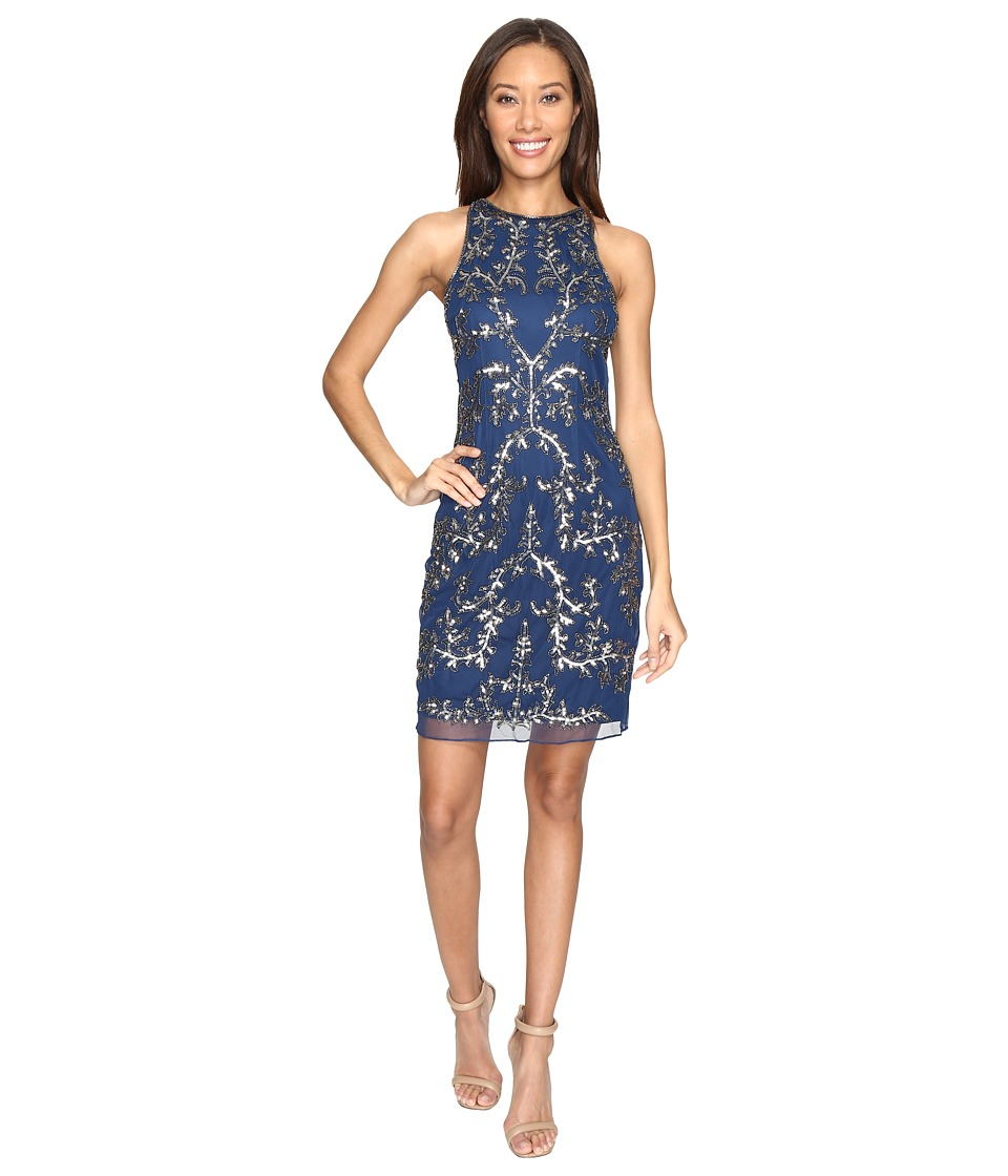 Adrianna Papell - Short Halter Fully Beaded Dress (Twilight) Women's Dress