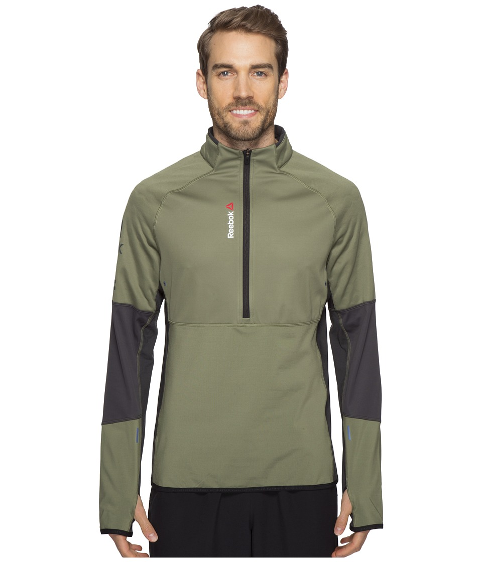 Reebok - One Series Hex Thermal 1/4 Zip Top (Green) Men's Long Sleeve Pullover