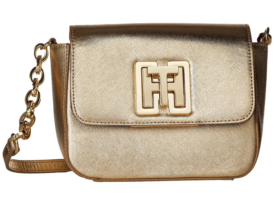 Tommy Hilfiger - Clara Flap Crossbody - Textured Leather (Metallic Gold) Cross Body Handbags