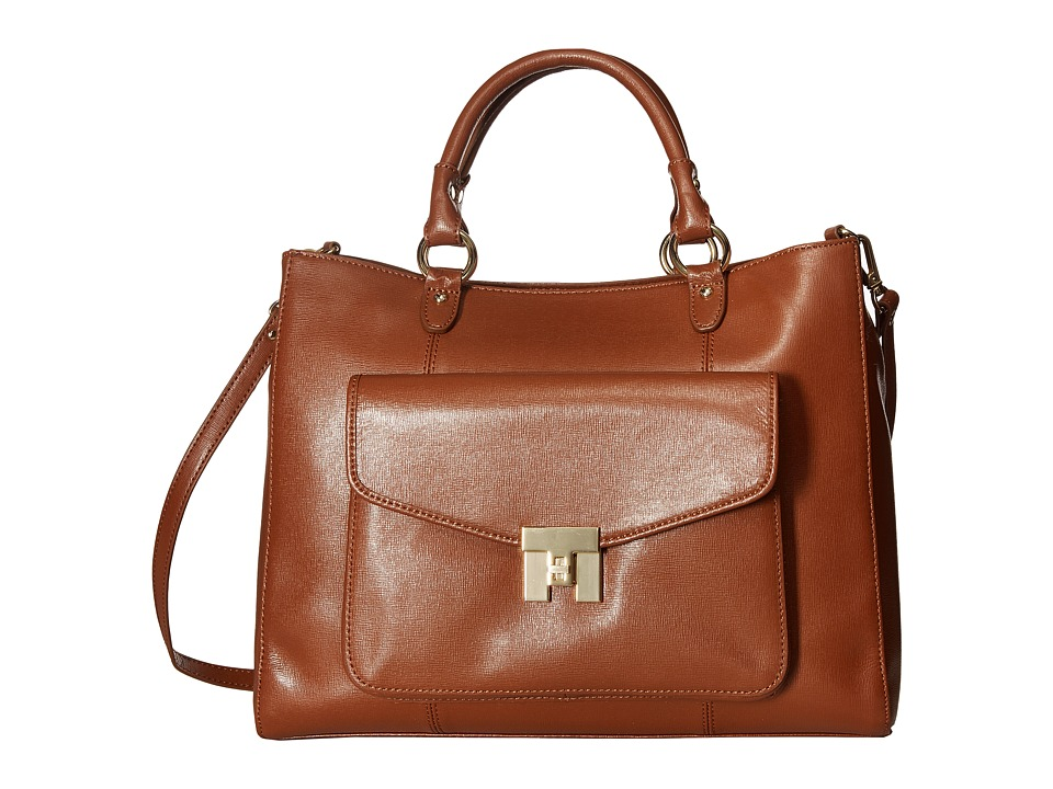 Tommy Hilfiger - Turnlock Convertible Shopper - Textile Leather (Cognac) Handbags