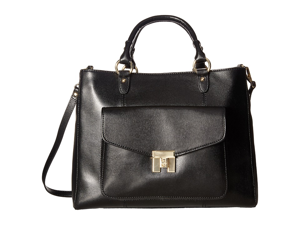 Tommy Hilfiger - Turnlock Convertible Shopper - Textile Leather (Black) Handbags