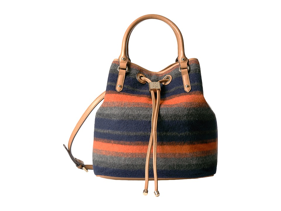 Tommy Hilfiger - Hannah Drawstring Tote - Bold Stripe Wool (Navy/Orange) Tote Handbags