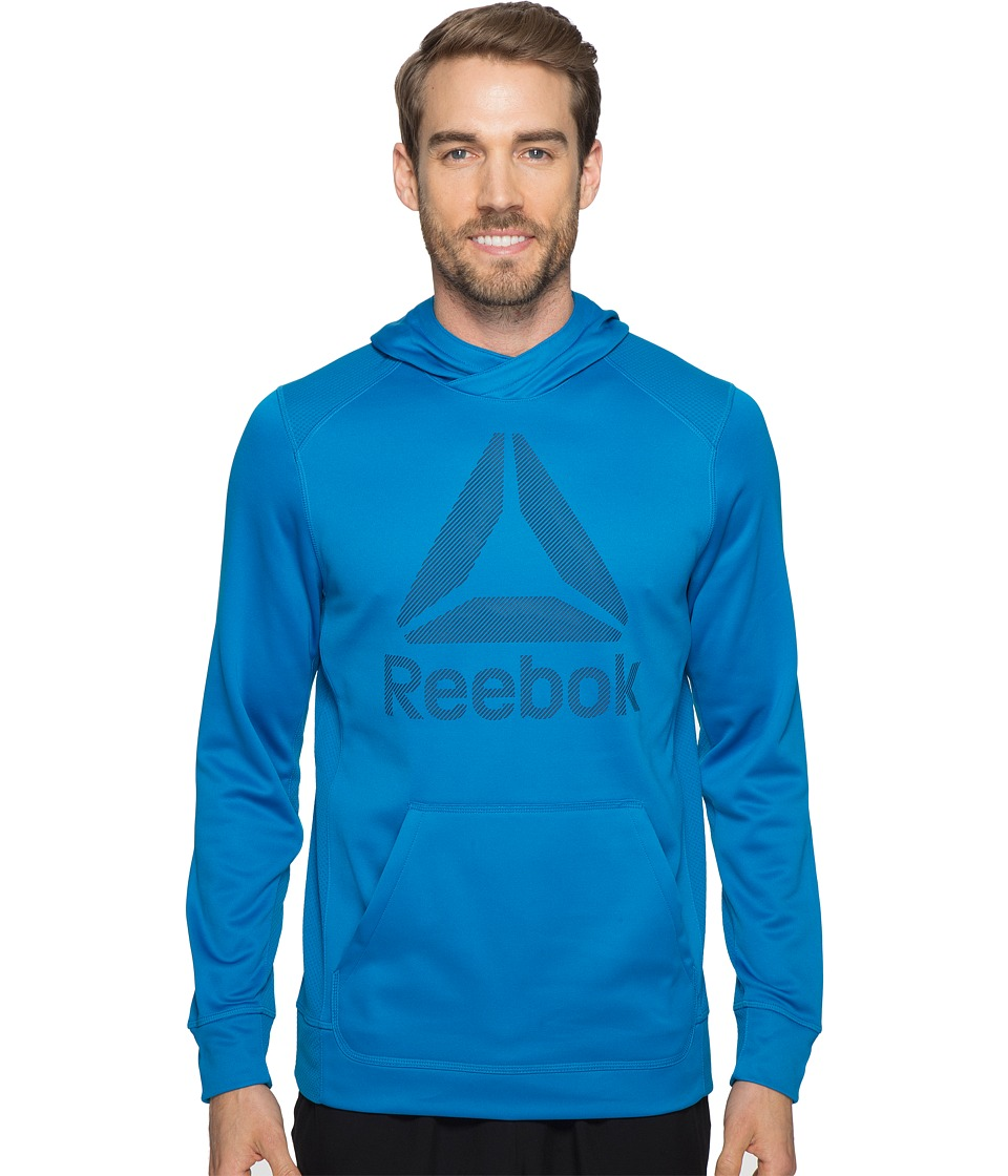 Reebok - Workout Ready Warm Poly Fleece Over the Head Hoodie (Blue) Men's Sweatshirt