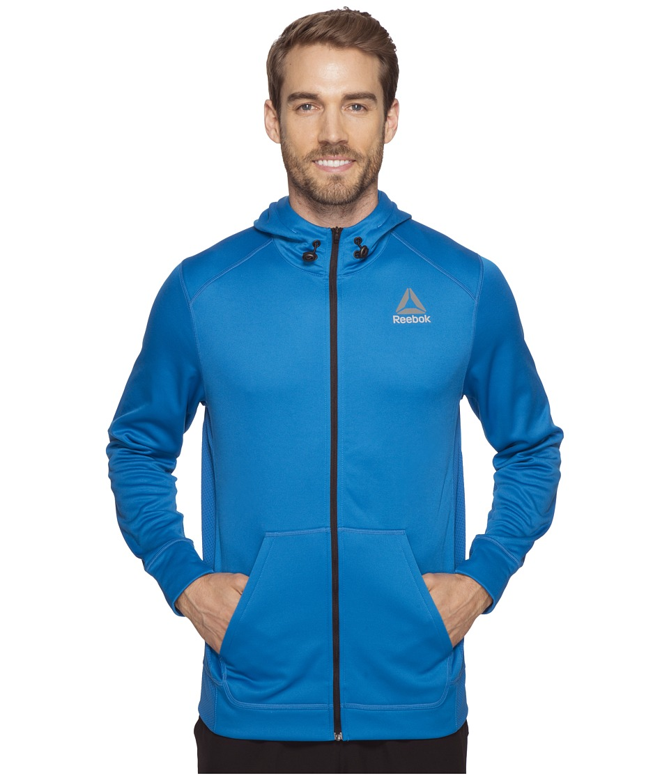 Reebok - Workout Ready Warm Poly Fleece Full Zip (Blue) Men's Sweatshirt