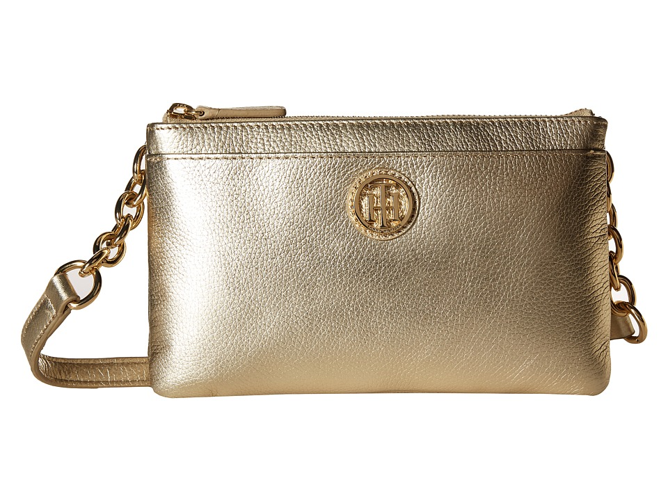Tommy Hilfiger - Double Zip Crossbody - Pebble Leather (Gold) Cross Body Handbags