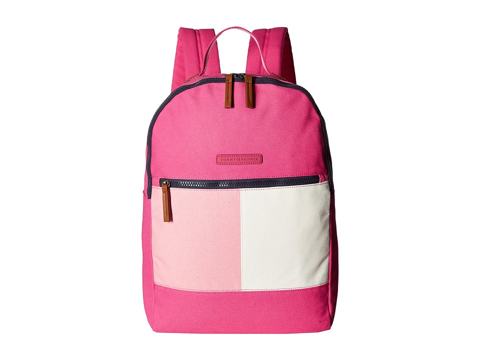 Tommy Hilfiger - Flag Color Block Backpack - Canvas (Fuchsia) Backpack Bags