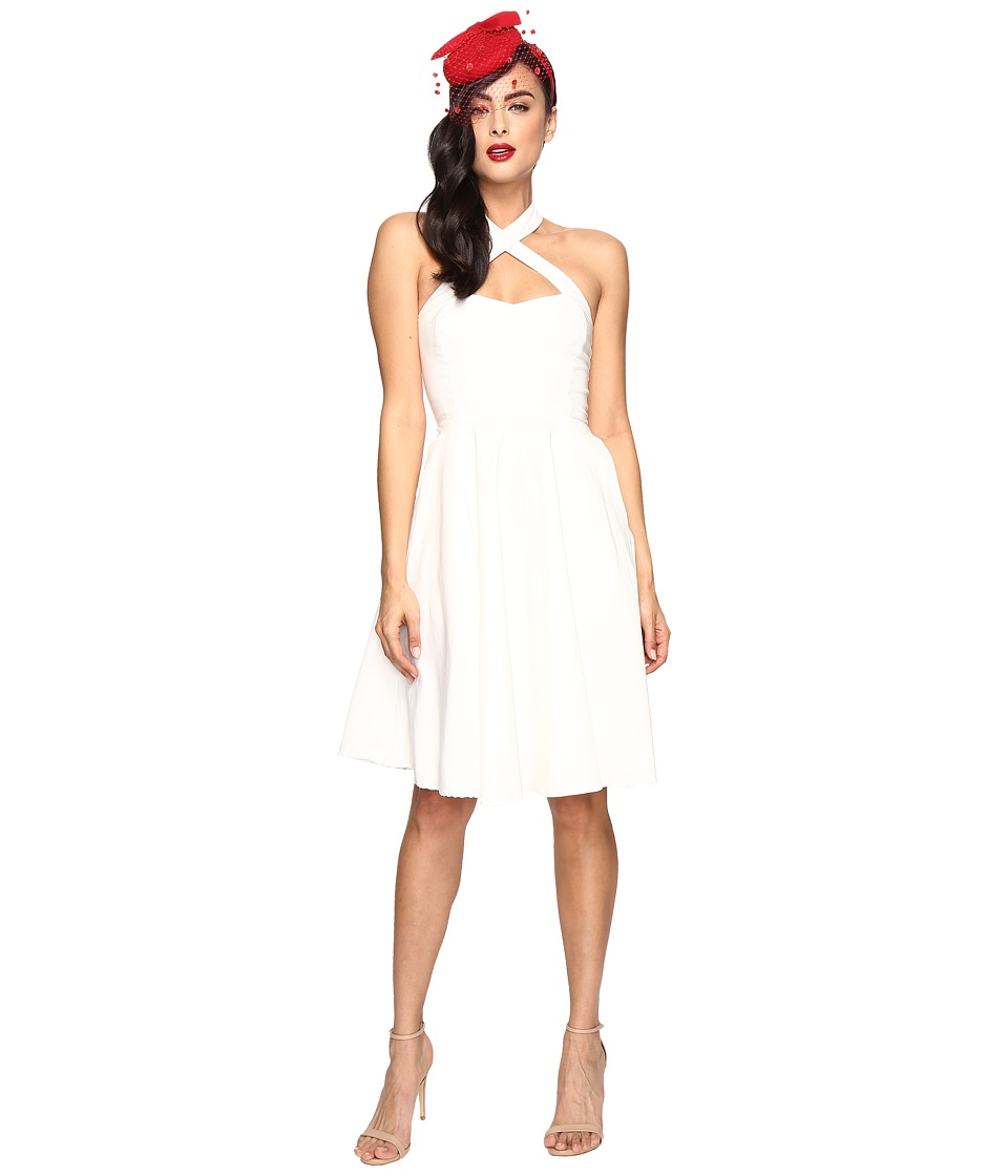 Unique Vintage - Cross Neck Stretch Rita Dress (Ivory) Women's Dress