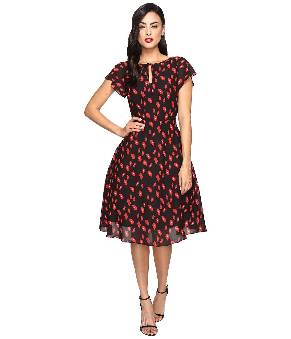Unique Vintage - Cap Sleeve Formosa Swing Dress (Black/Red Lip Print) Women's Dress
