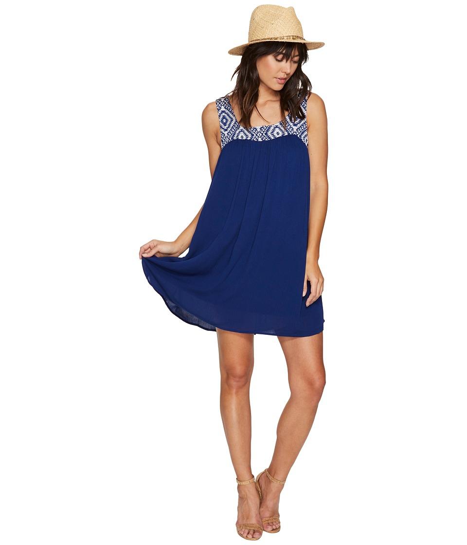 Jack by BB Dakota Glyins Jacquard Yoke + Crinkle Rayon Dress (Navy Blue) Women