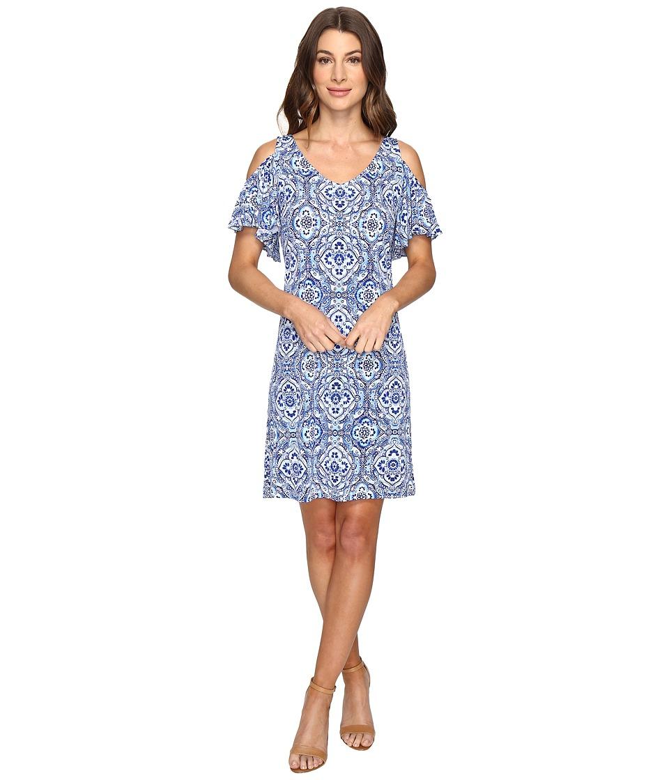Christin Michaels - Born Cold Shoulder Shift Dress (Navy/Ivory) Women's Dress
