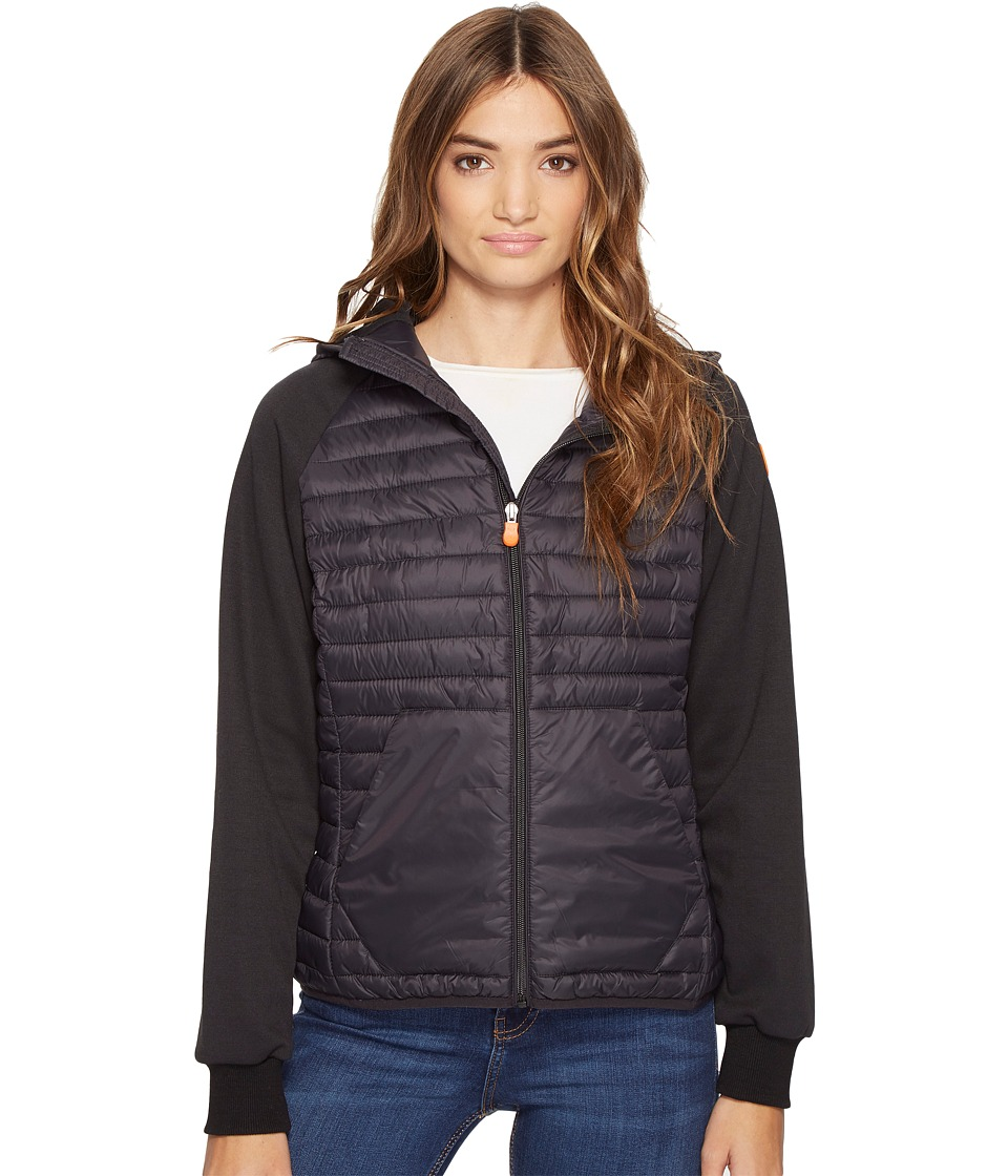 Save the Duck Hooded Knit/Nylon Casual jacket (Black) Women