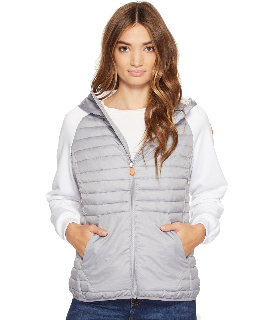 Save the Duck Hooded Knit/Nylon Casual jacket (Light Grey) Women