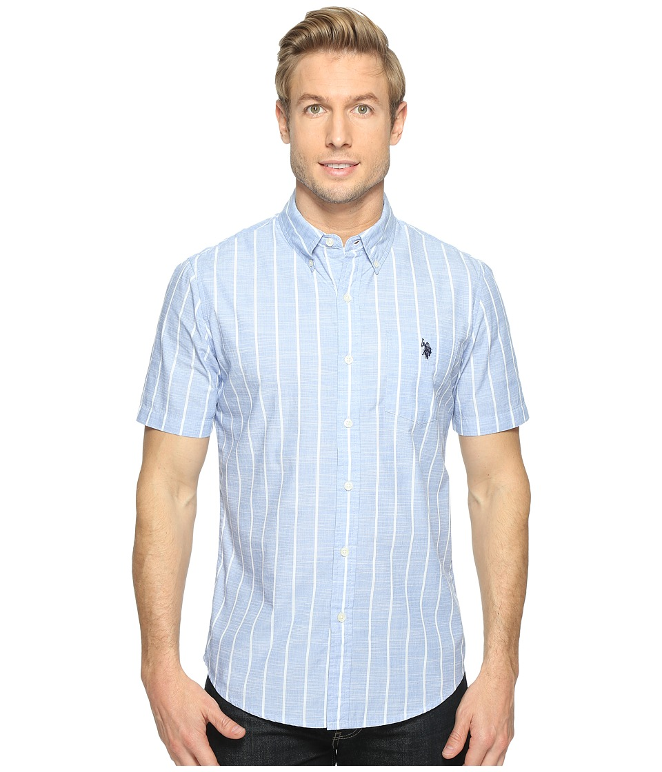 U.S. POLO ASSN. - Striped, Plaid or Print Single Pocket Slim Fit Sport Shirt (White) Men's T Shirt