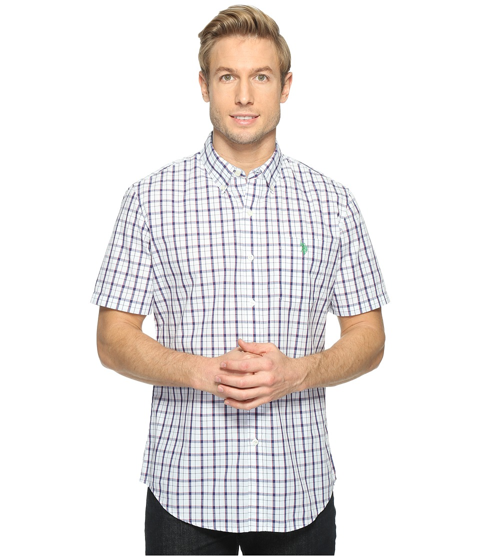 U.S. POLO ASSN. - Classic Fit Single Pocket Stripe, Plaid or Print Sport Shirt (Optic White) Men's T Shirt