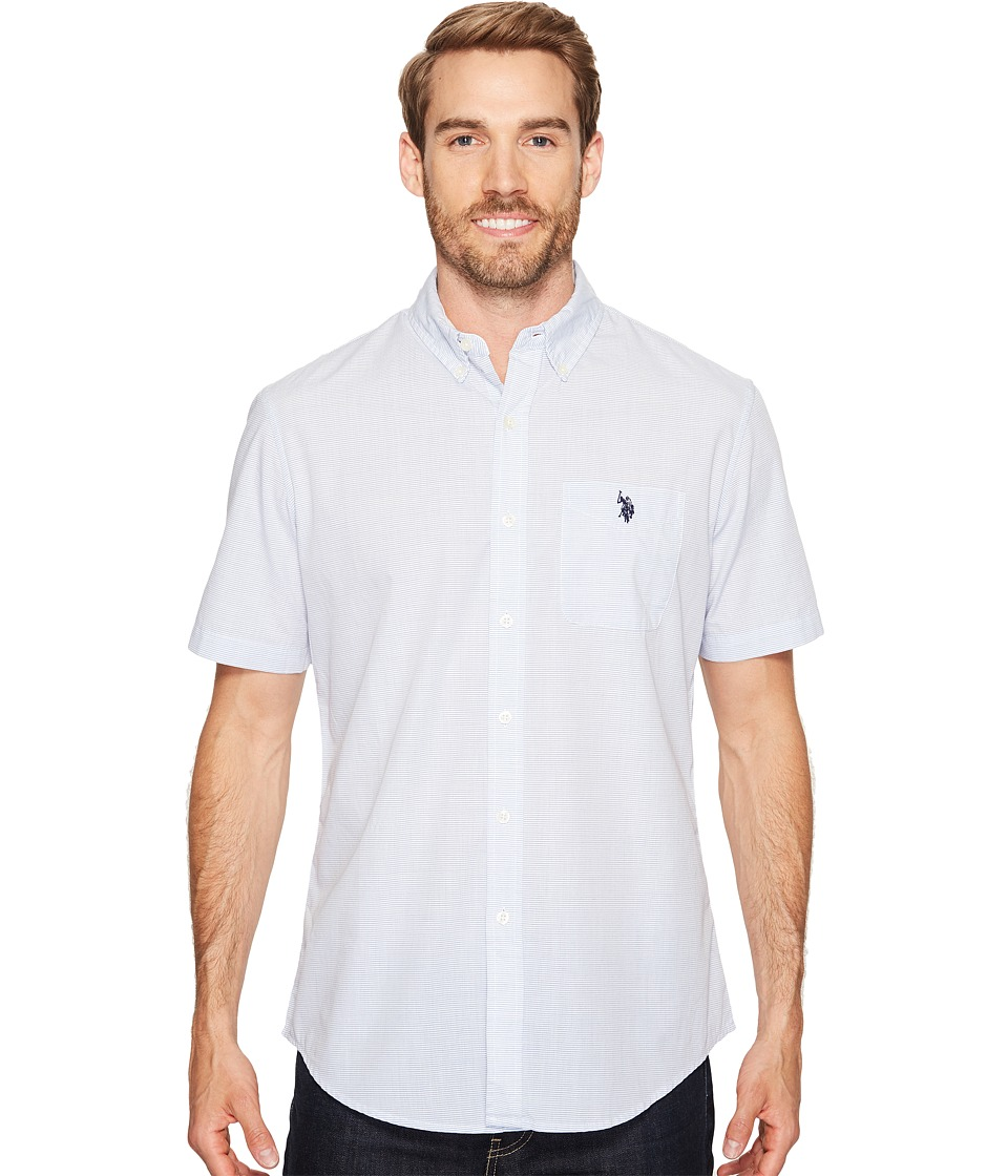 U.S. POLO ASSN. - Classic Fit Single Pocket Stripe, Plaid or Print Sport Shirt (Blue Raft) Men's T Shirt
