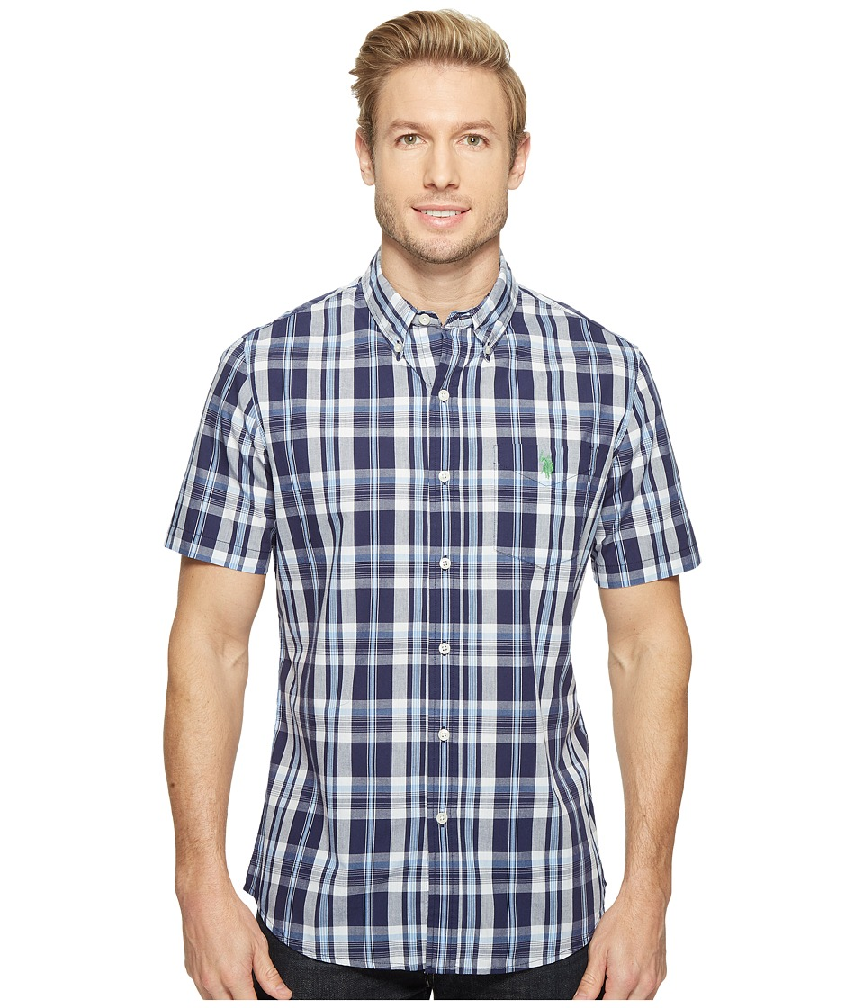 U.S. POLO ASSN. Striped, Plaid or Print Single Pocket Slim Fit Sport Shirt (Classic Navy) Men