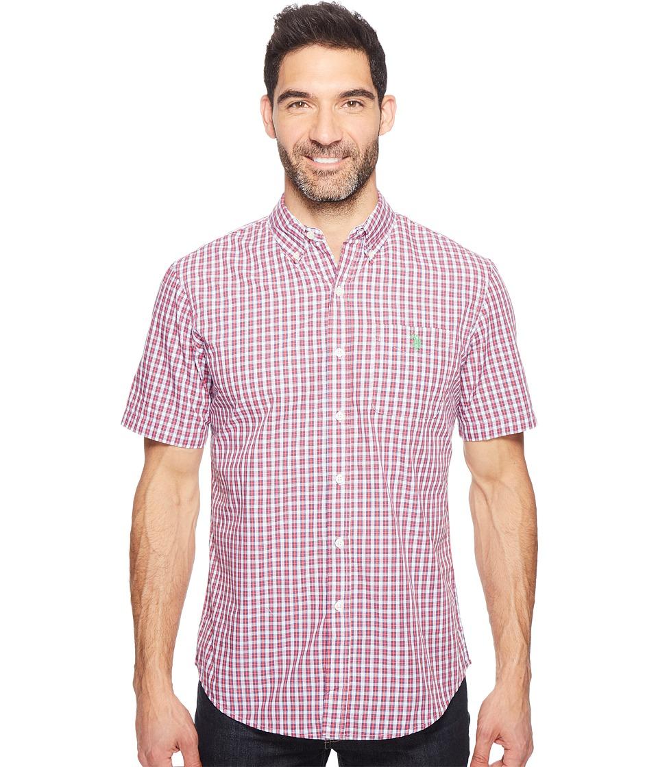 U.S. POLO ASSN. - Classic Fit Single Pocket Stripe, Plaid or Print Sport Shirt (Celebrity Pink) Men's T Shirt