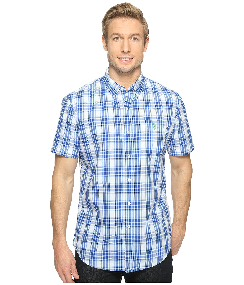 U.S. POLO ASSN. - Classic Fit Single Pocket Stripe, Plaid or Print Sport Shirt (White) Men's T Shirt