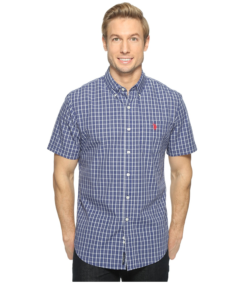 U.S. POLO ASSN. - Classic Fit Single Pocket Stripe, Plaid or Print Sport Shirt (Classic Navy) Men's T Shirt