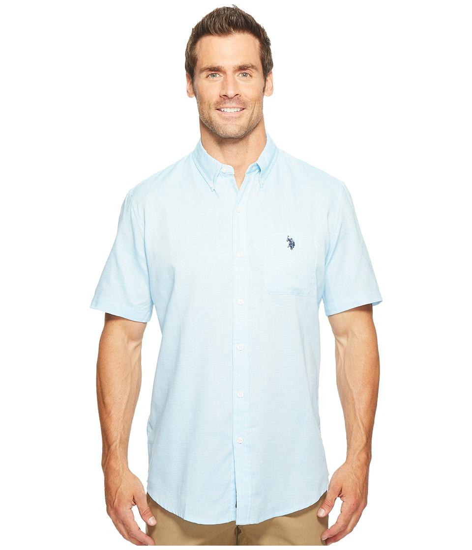 U.S. POLO ASSN. - Classic Fit Single Pocket Stripe, Plaid or Print Sport Shirt (Flip-Flop Blue) Men's T Shirt