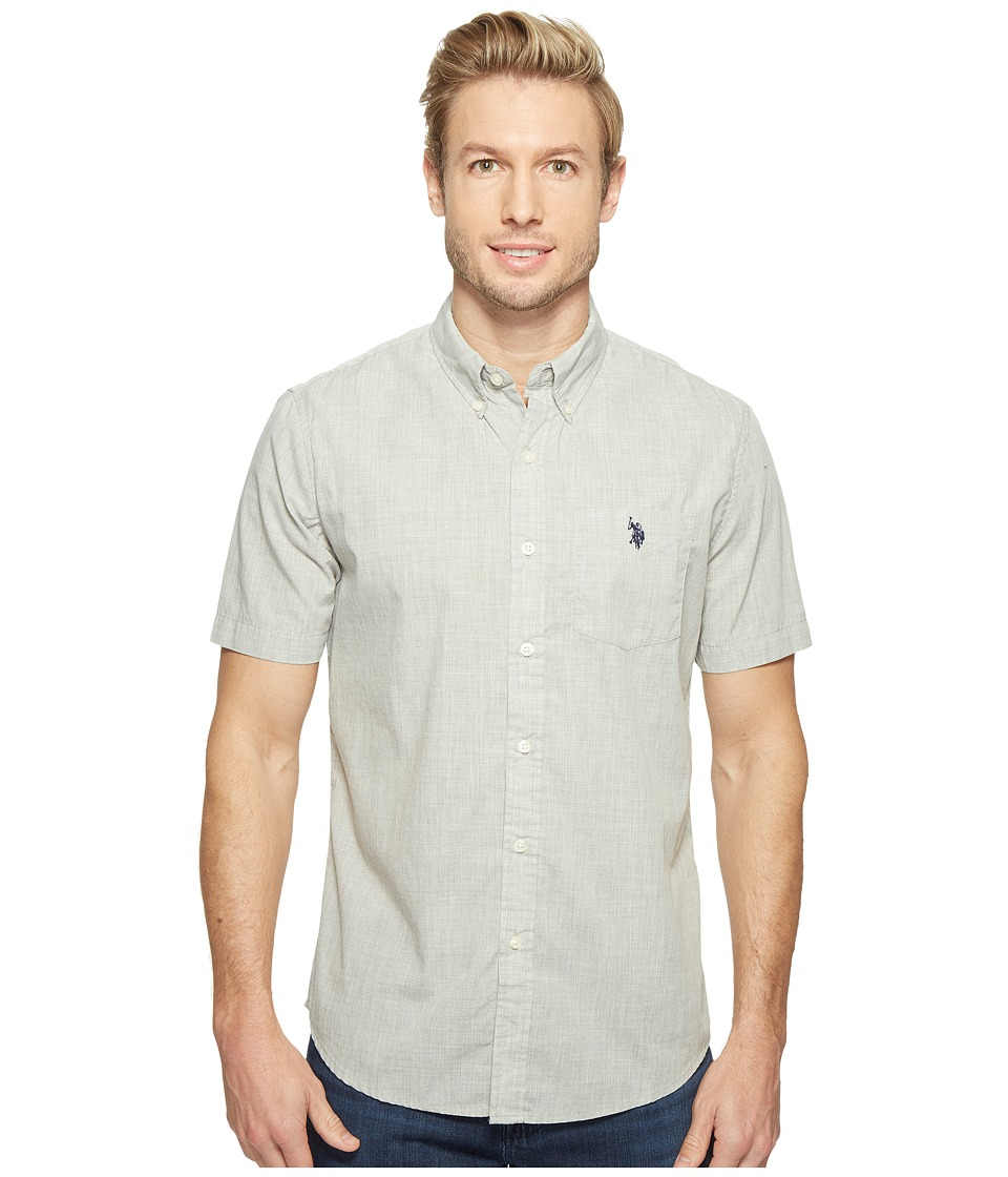 U.S. POLO ASSN. - Short Sleeve Single Pocket Slim Fit Solid Sport Shirt (Light Heather Gray) Men's T Shirt