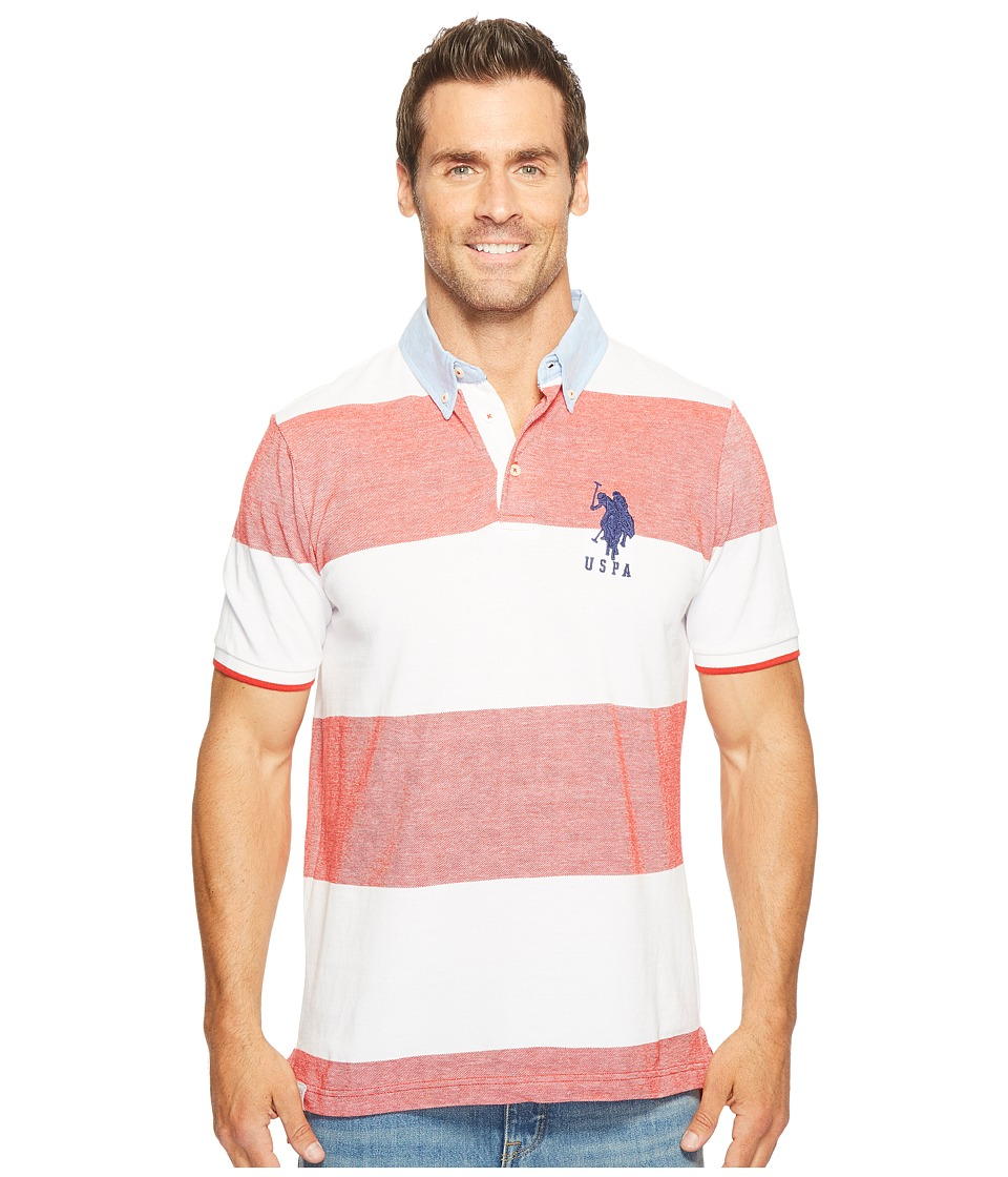 U.S. POLO ASSN. - Short Sleeve Striped Classic Fit Pique Polo Shirt (Winning Red) Men's T Shirt