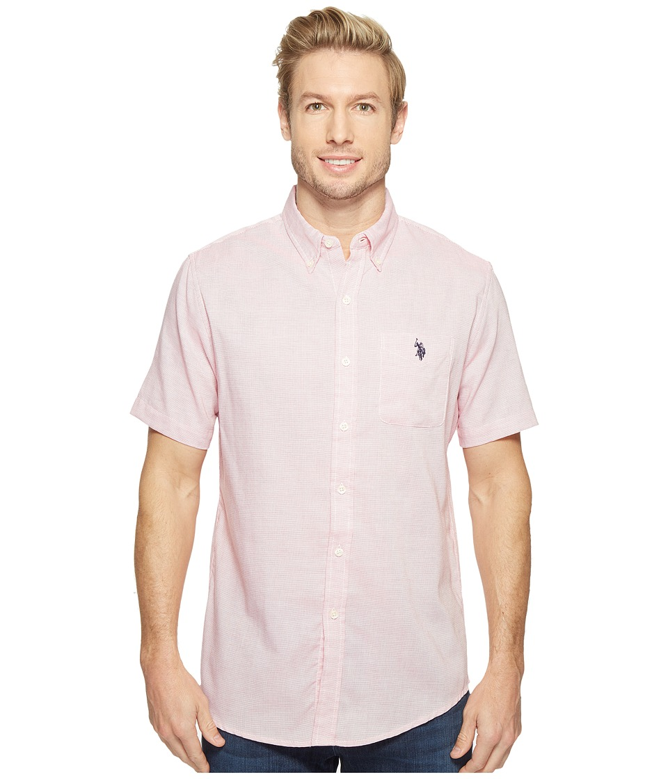 U.S. POLO ASSN. - Classic Fit Single Pocket Stripe, Plaid or Print Sport Shirt (Celebrity Pink) Men's T Shirt