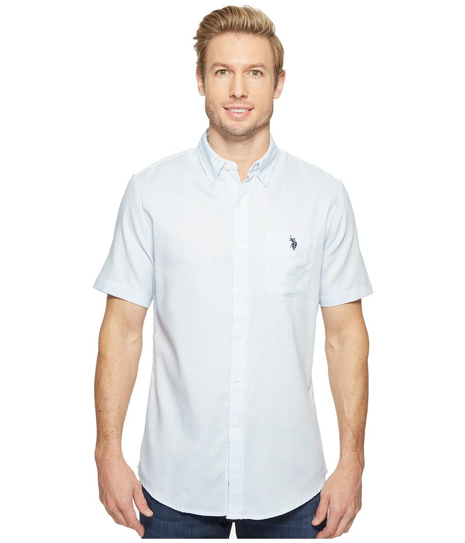 U.S. POLO ASSN. - Classic Fit Single Pocket Stripe, Plaid or Print Sport Shirt (Artist Blue) Men's T Shirt