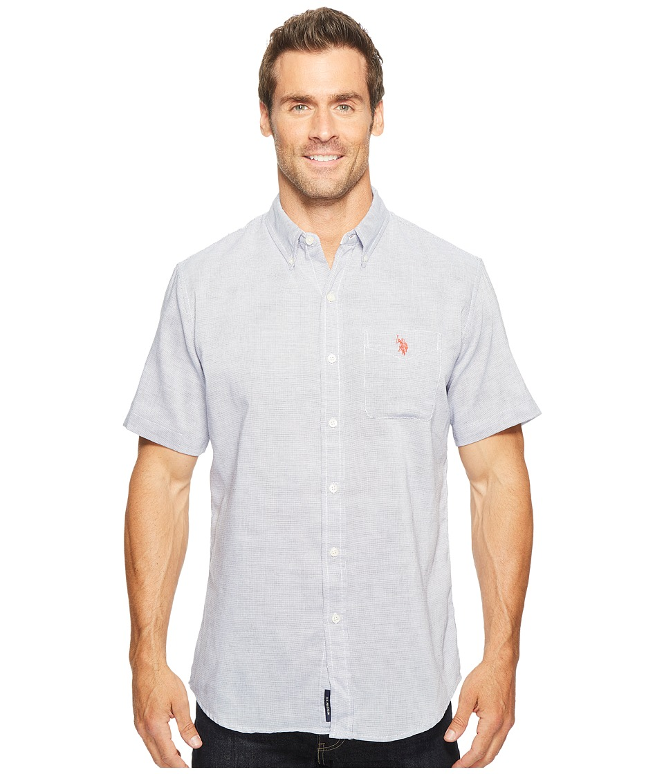 U.S. POLO ASSN. - Classic Fit Single Pocket Stripe, Plaid or Print Sport Shirt (Classic Navy) Men's T Shirt