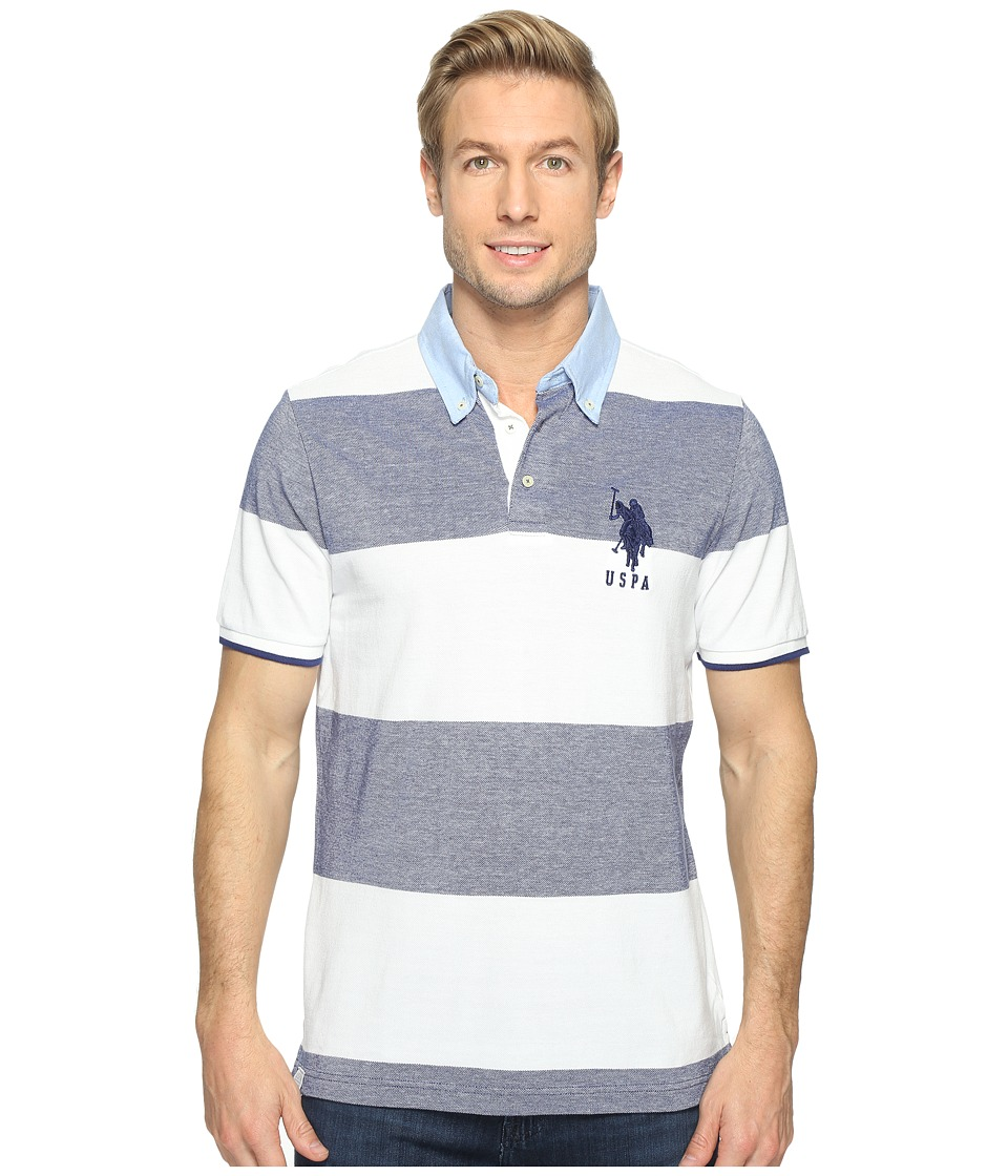 U.S. POLO ASSN. - Short Sleeve Striped Classic Fit Pique Polo Shirt (Marina Blue) Men's T Shirt